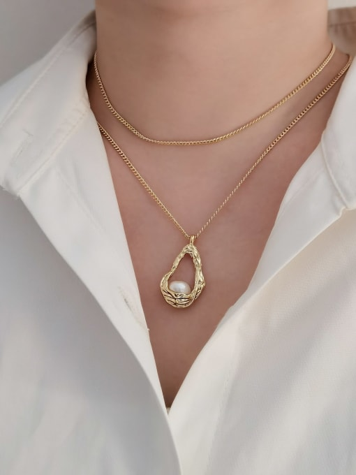 HYACINTH Brass Imitation Pearl Water Drop Trend Multi Strand Necklace 1