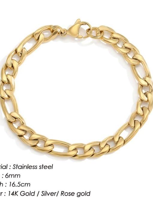 Gold 6mm 16.5cm Stainless steel Geometric Minimalist Link Bracelet