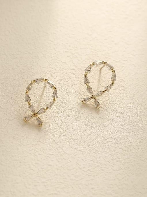 14k Gold Brass Cubic Zirconia Geometric Vintage Stud Earring