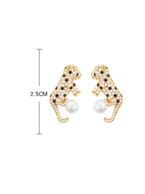 OUOU Brass Cubic Zirconia Leopard Hip Hop Stud Earring 2