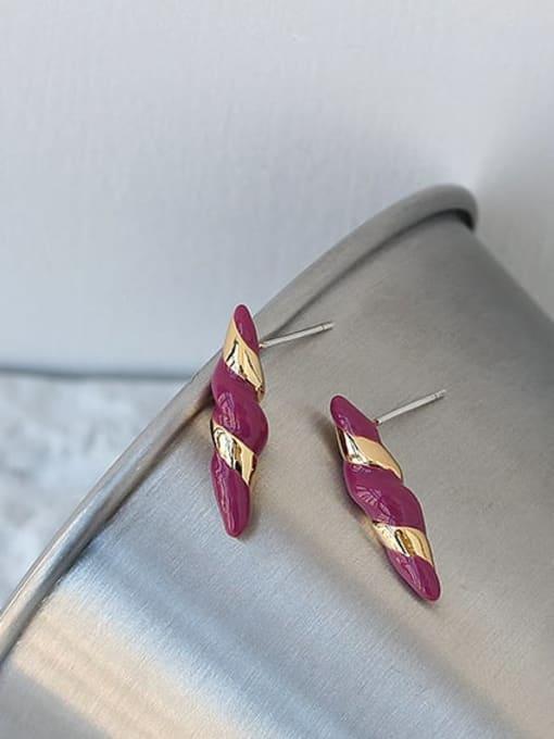 ACCA Brass Enamel Geometric Vintage Stud Earring 2