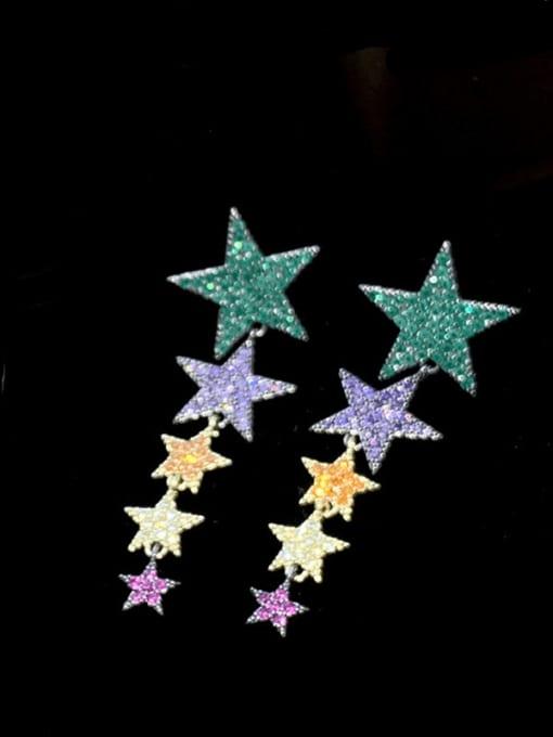 SUUTO Brass Cubic Zirconia Star Ethnic Drop Earring