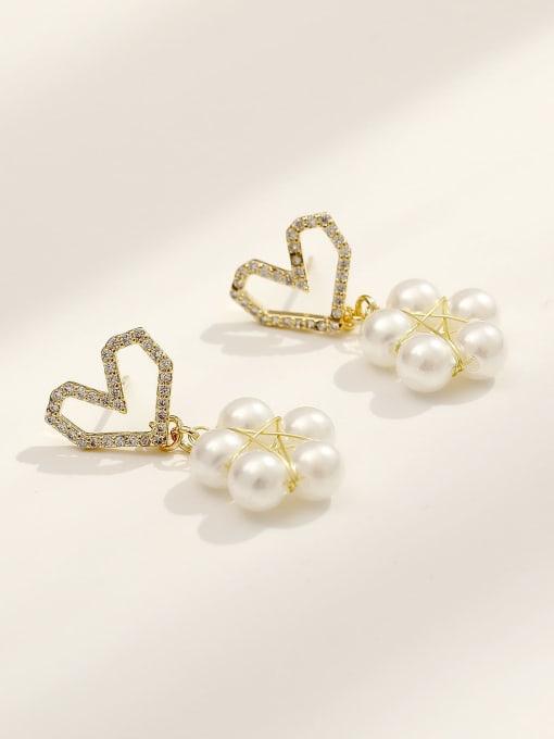 HYACINTH Brass Imitation Pearl Heart Cute Drop Earring