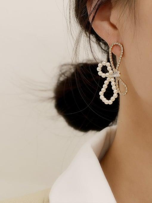 HYACINTH Brass Imitation Pearl Bowknot Vintage Stud Earring 1