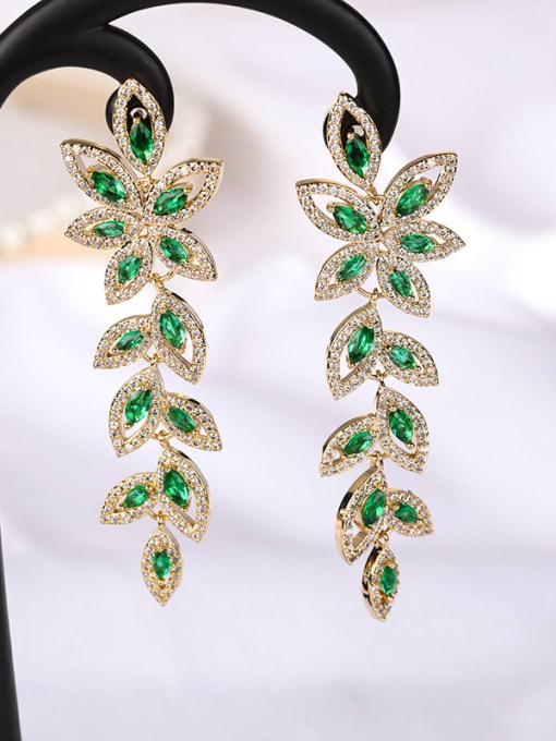 green Brass Cubic Zirconia Flower Statement Drop Earring