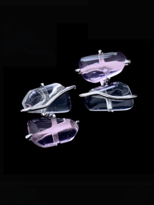 SUUTO Brass Glass Stone Geometric Minimalist Stud Earring 1