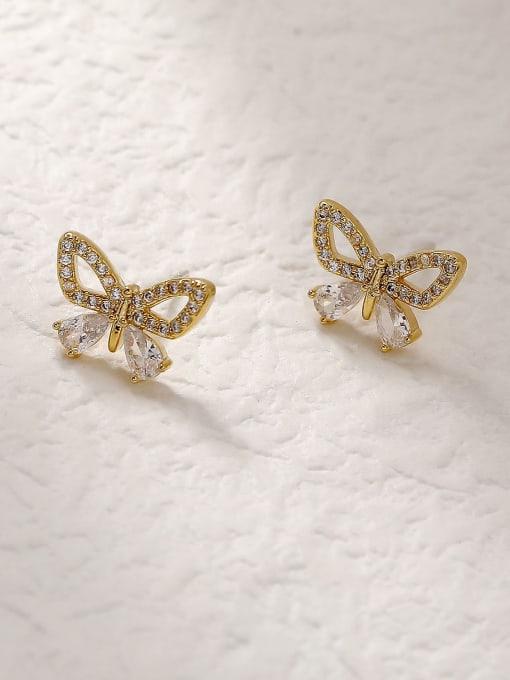 14k Gold Brass Cubic Zirconia Butterfly Vintage Stud Trend Korean Fashion Earring