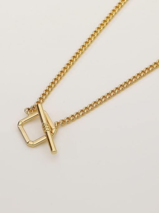 HYACINTH Brass Hollow Geometric Minimalist Necklace 0