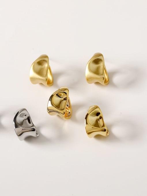 HYACINTH Brass Smooth Irregular Vintage Stud Earring 0