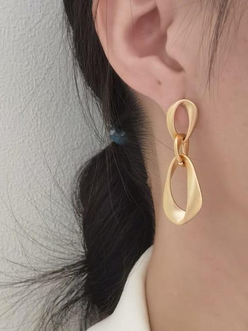 HYACINTH Brass Hollow Water Drop Minimalist Drop Earring 1