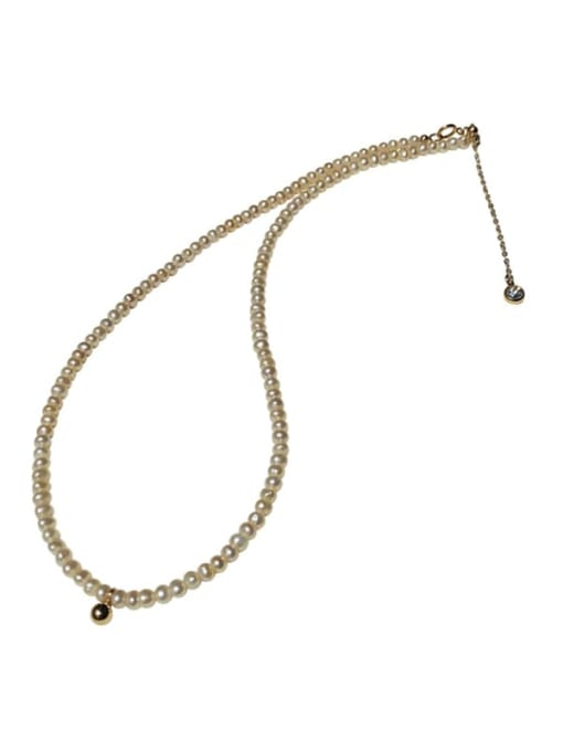 HYACINTH Brass Imitation Pearl Round Vintage Necklace 3