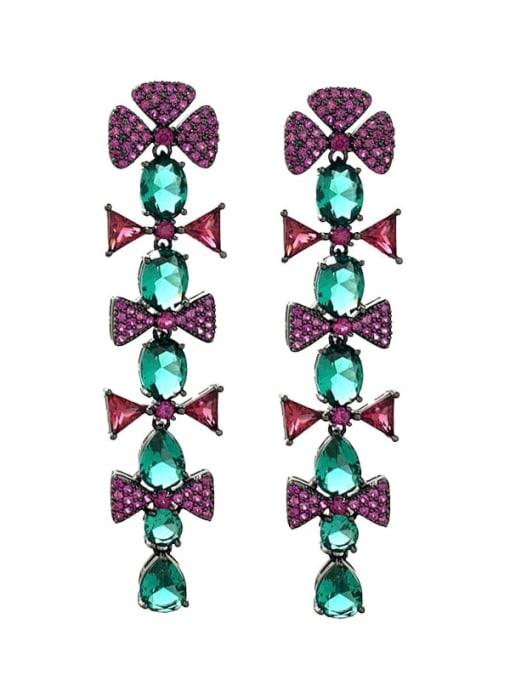 purple Brass Cubic Zirconia Flower Vintage Drop Earring