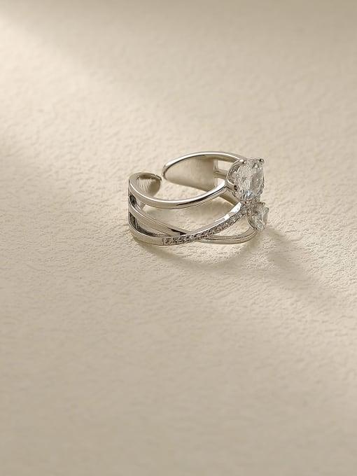 white K Brass Rhinestone Cross Minimalist Stackable Ring