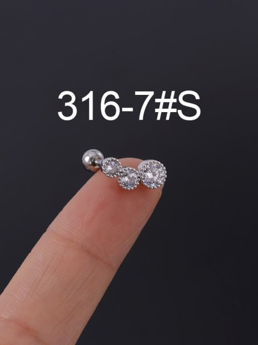 7S Stainless steel with Cubic Zirconia Ear Bone Nail/Puncture Earring