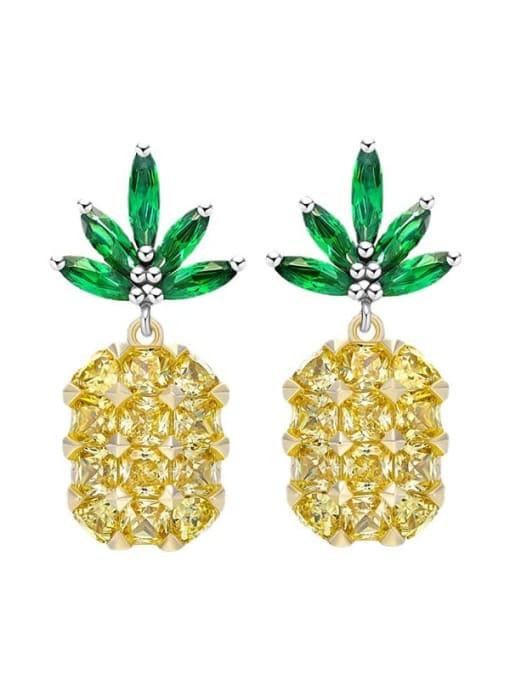 golden Brass Cubic Zirconia Friut Luxury Drop Earring