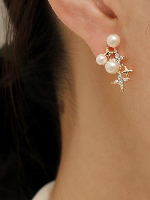 HYACINTH Brass Cubic Zirconia Star Dainty Stud Earring 1