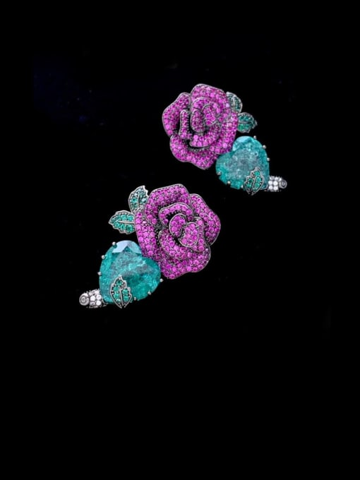 SUUTO Brass Cubic Zirconia Flower Ethnic Stud Earring