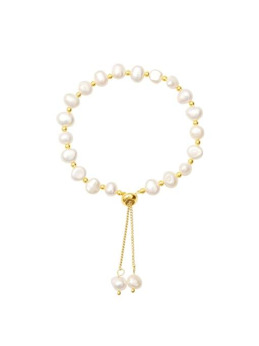 14K gold Brass Freshwater Pearl Irregular Minimalist Bracelet