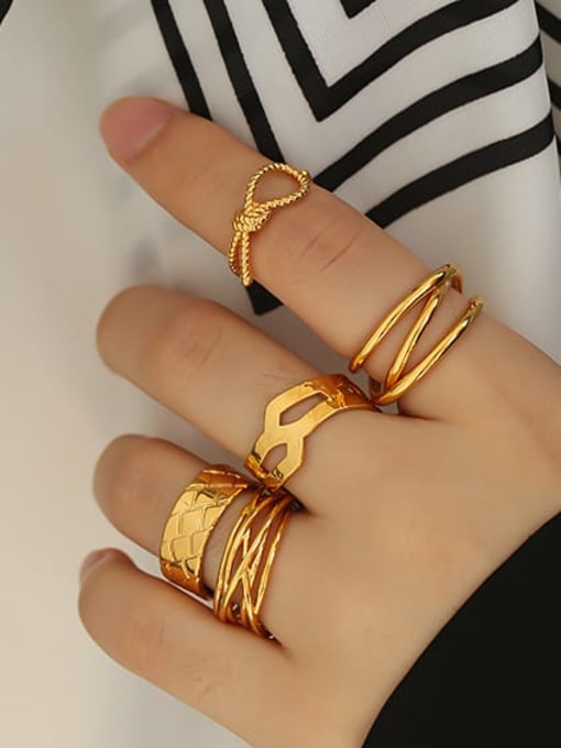 ACCA Brass Geometric Vintage Band Ring 1