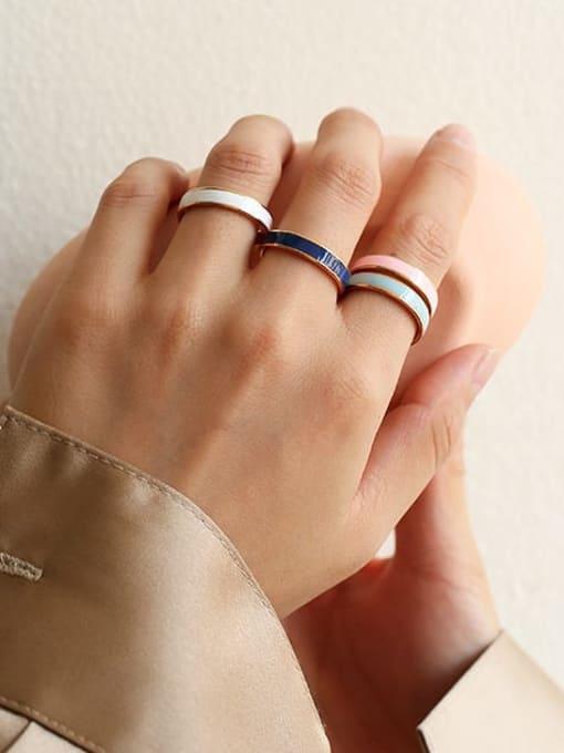 Five Color Brass Enamel Geometric Minimalist Band Ring 3
