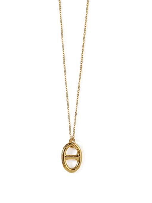 Pig nose Necklace Brass Imitation Pearl Geometric Vintage Necklace