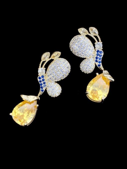 yellow Brass Cubic Zirconia Butterfly Luxury Drop Earring