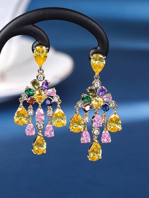 Color Brass Cubic Zirconia Flower Luxury Drop Earring