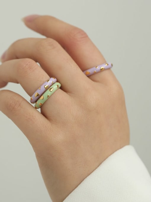 Five Color Brass Enamel Round Minimalist Band Ring 2