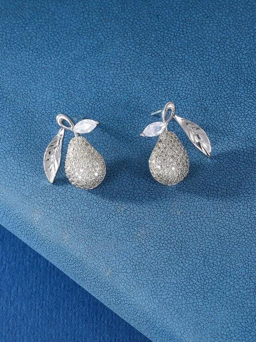 OUOU Brass Cubic Zirconia Friut Luxury Stud Earring 2