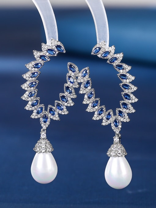 blue Brass Cubic Zirconia Flower Luxury Drop Earring