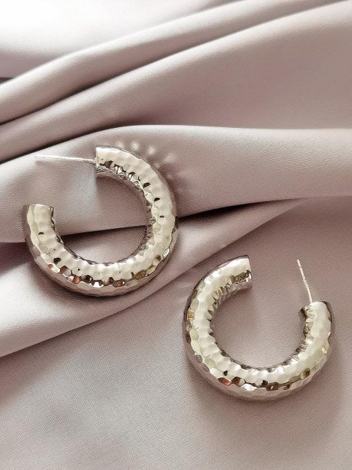 HYACINTH Brass Geometric Minimalist Hoop Earring 2
