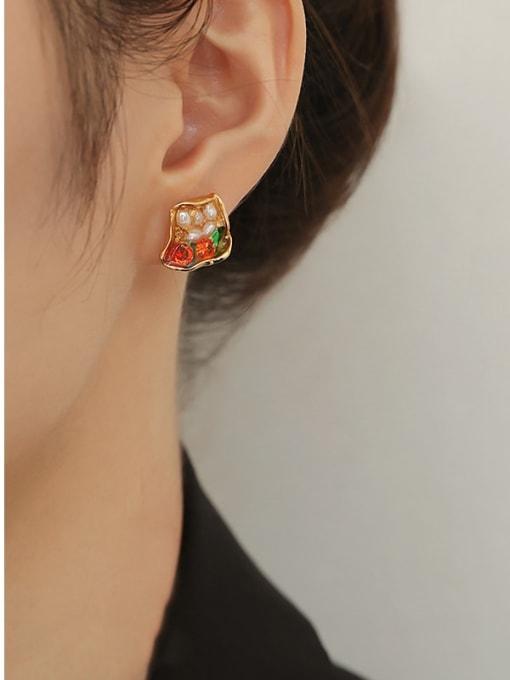 TINGS Brass Imitation Pearl Geometric Hip Hop Stud Earring 1