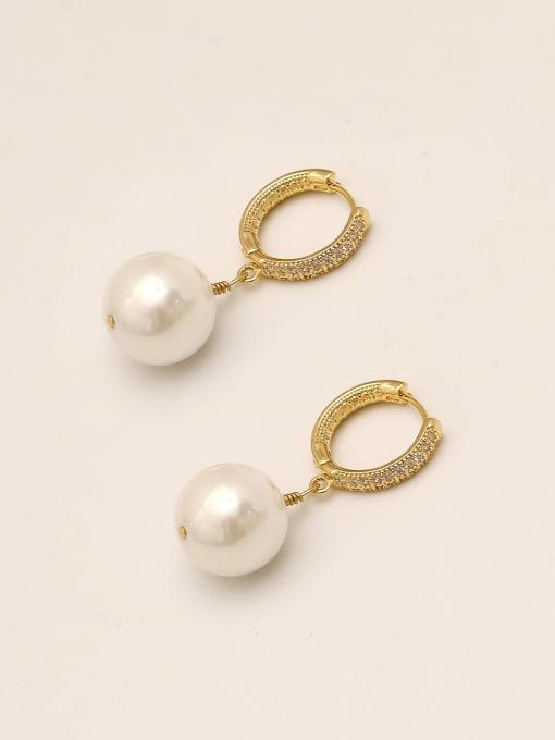 HYACINTH Brass Imitation Pearl Geometric Vintage Huggie Earring 0