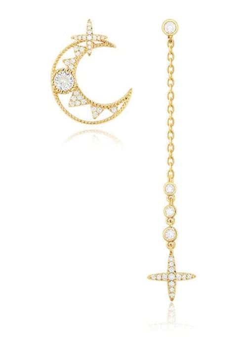 OUOU Brass Cubic Zirconia Minimalist Asymmetric moon tassel Drop Earring