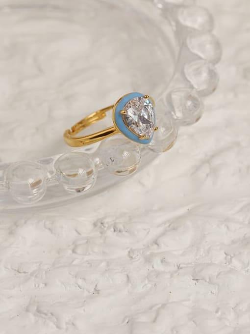 ACCA Brass Enamel Cubic Zirconia Water Drop Vintage Band Ring 2