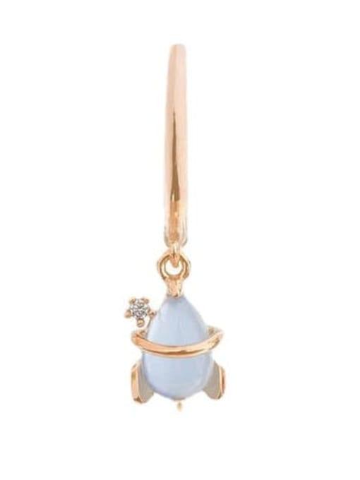 Rose Gold rocket Brass Cubic Zirconia Irregular Minimalist Drop Earring