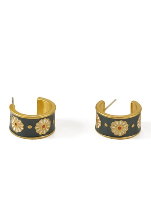ACCA Brass Enamel Flower Vintage Stud Earring 2