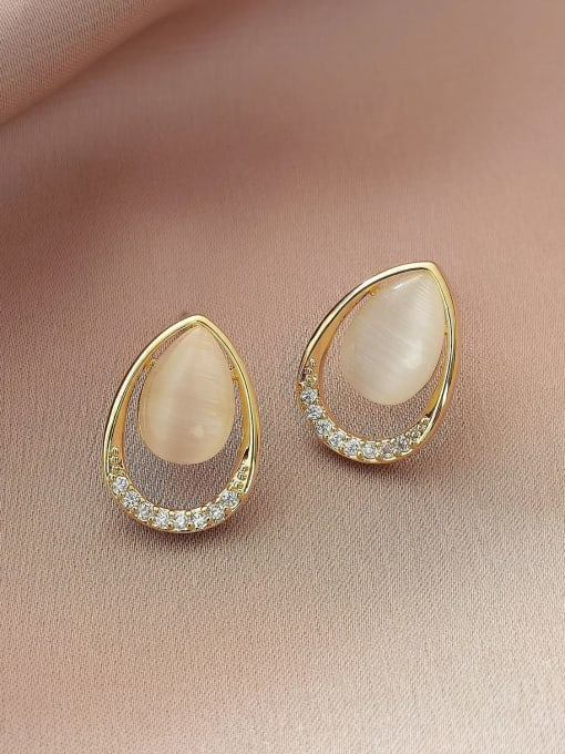 HYACINTH Brass Cats Eye Geometric Vintage Stud Earring 2