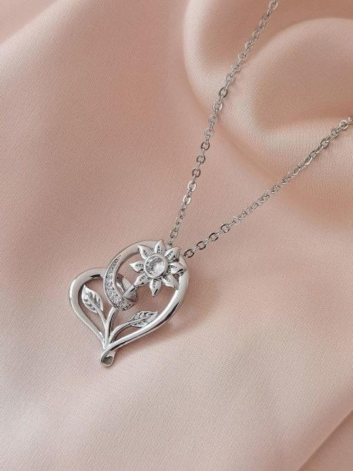 White K Brass Rhinestone Heart Vintage Necklace