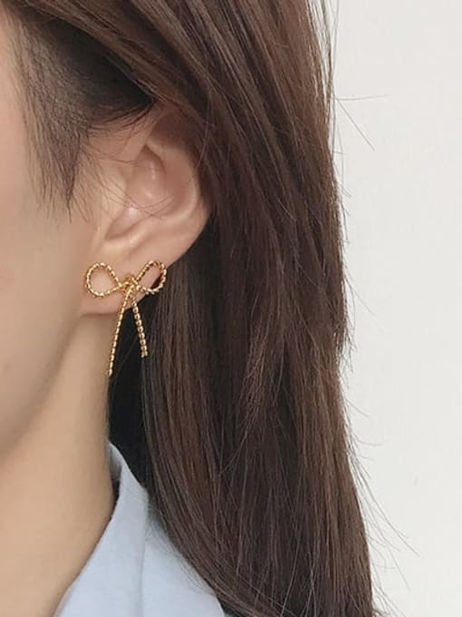 Five Color Alloy Bowknot Cute Stud Earring 1