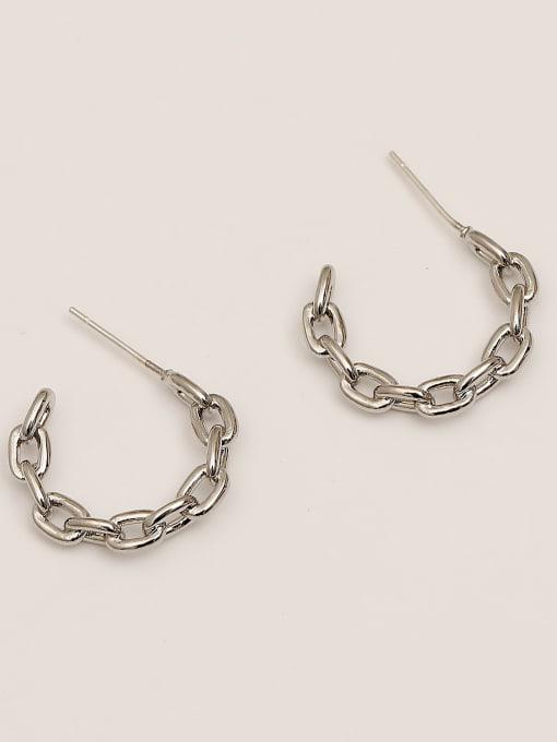 HYACINTH Brass Hollow Geometric Minimalist Hoop Earring 3