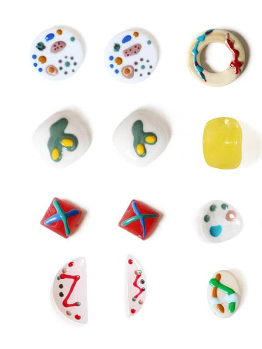 Five Color Alloy Enamel Geometric Cute Stud Earring 4