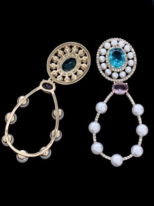 SUUTO Brass Imitation Pearl Geometric Luxury Drop Earring 1