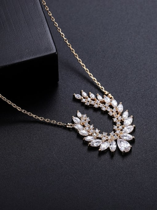 Champagne gold Brass Cubic Zirconia Oval Vintage Necklace