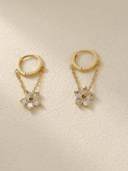 HYACINTH Brass Cubic Zirconia Flower Vintage Huggie Trend Korean Fashion Earring 0