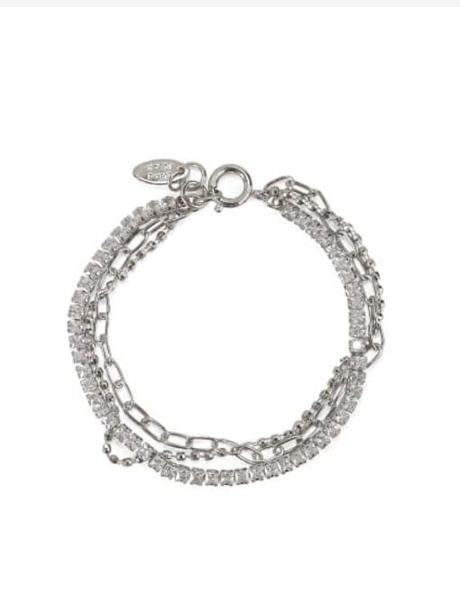 Platinum Brass Cubic Zirconia  Vintage Three layered rhinestone bracelet