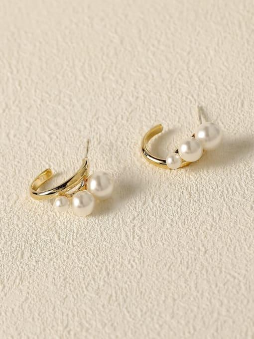 14k gold Brass Imitation Pearl Geometric Minimalist Stud Earring