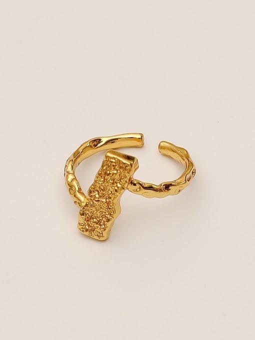14K gold Brass Irregular Geometric Vintage Band Ring