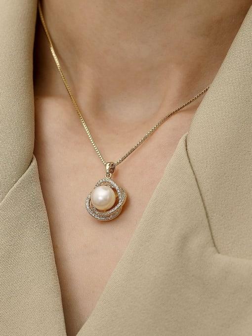 HYACINTH Brass Imitation Pearl Locket Minimalist Necklace 2