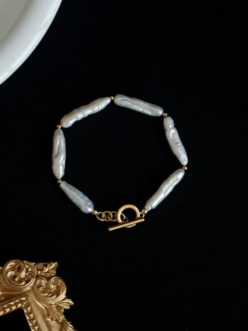 Five Color Brass Freshwater Pearl Irregular Minimalist Beaded Bracelet 0